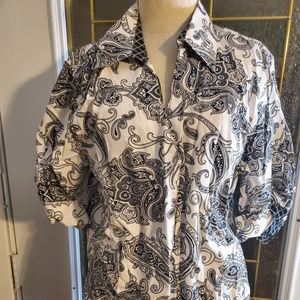 Coldwater Creek Button Up White Demask Shirt Large